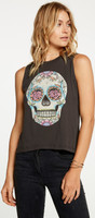 Floral Skull Women's Black Sleeveless Muscle Fashion T-shirt by Chaser - 2