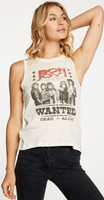 Bon Jovi Wanted Dead or Alive Women's Vintage White Sleeveless Muscle Fashion T-shirt by Chaser - right