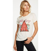 Pink Floyd Album Covers Artwork Women's White Paint Splatter Distressed Fashion T-shirt by Chaser - side