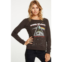 Pink Floyd The Dark Side of the Moon Album Artwork Women's Black Vintage Distressed Fashion Sweatshirt by Chaser - front 1