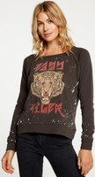Easy Tiger Women's Black Vintage Distressed Sweatshirt by Chaser