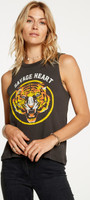 Savage Heart Tiger Head Image Women's Black Vintage Sleeveless Muscle Tank Top Fashion T-shirt by Chaser - side