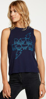 David Bowie Ziggy Stardust Tour Logo Women's Vintage Blue Sleeveless Muscle Fashion Concert Tank Top T-shirt by Chaser - right