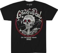 Grateful Dead On the Road Again 1980 Men's Black Concert T-shirt