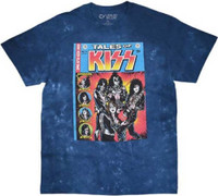 Kiss Tales of Kiss Comic Book Cover Men's Blue Tie-Dye T-shirt
