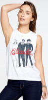 Blondie Band Photograph Women's White Sleeveless Muscle Tank Top T-shirt - front