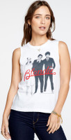 Blondie Band Photograph Women's White Sleeveless Muscle Tank Top T-shirt - left