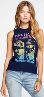 Pink Floyd Live at the Fillmore West San Francisco, California Women's Blue Vintage Sleeveless Fashion Concert Muscle Tank Top T-shirt by Chaser - front