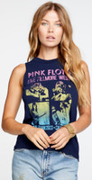 Pink Floyd Live at the Fillmore West San Francisco, California Women's Blue Vintage Sleeveless Fashion Concert Muscle Tank Top T-shirt by Chaser - front 2