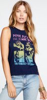 Pink Floyd Live at the Fillmore West San Francisco, California Women's Blue Vintage Sleeveless Fashion Concert Muscle Tank Top T-shirt by Chaser - side