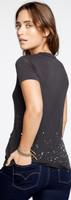 Grateful Dead Dancing Skeleton Logo Women's Black Vintage Distressed Fashion T-shirt by Chaser - back