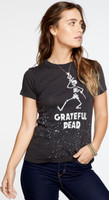 Grateful Dead Dancing Skeleton Logo Women's Black Vintage Distressed Fashion T-shirt by Chaser- side