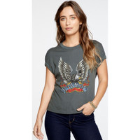 Freedom Bald Eagle Image Women's Rolled Sleeve Safari Green Fashion T-shirt by Chaser - front