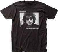Bob Dylan Classic Black and White Photograph Like a Rolling Stone Song Title Men's Black T-shirt