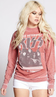 KISS The Return of KISS Live in Concert Women's Red Vintage Fashion Concert Sweatshirt by Recycled Karma - front