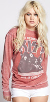 KISS The Return of KISS Live in Concert Women's Red Vintage Fashion Concert Sweatshirt by Recycled Karma - right