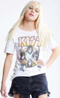 KISS Alive World Wide 1996-1997 Women's White Distressed Vintage Fashion Concert T-shirt by Recycled Karma - front