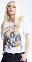 KISS Alive World Wide 1996-1997 Women's White Distressed Vintage Fashion Concert T-shirt by Recycled Karma - left