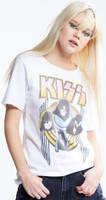 KISS Alive World Wide 1996-1997 Women's White Distressed Vintage Fashion Concert T-shirt by Recycled Karma - right