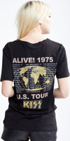 KISS Alive! 1975 US Tour Women's Black Vintage Distressed Fashion Concert T-shirt by Recycled Karma - back