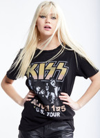 KISS Alive! 1975 US Tour Women's Black Vintage Distressed Fashion Concert T-shirt by Recycled Karma - front