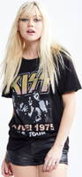 KISS Alive! 1975 US Tour Women's Black Vintage Distressed Fashion Concert T-shirt by Recycled Karma - left