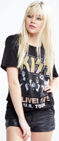 KISS Alive! 1975 US Tour Women's Black Vintage Distressed Fashion Concert T-shirt by Recycled Karma - right