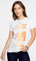 AC/DC Highway to Hell Tour 1979 Women's White Vintage Distressed Fashion Concert T-shirt by Chaser - side