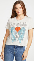 Def Leppard 1981 Tour Bringin' On the Heartbreak Women's White Vintage Fashion Concert T-shirt by Chaser - front