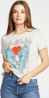 Def Leppard 1981 Tour Bringin' On the Heartbreak Women's White Vintage Fashion Concert T-shirt by Chaser - side