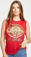 Def Leppard Leopard Cat Logo Women's Red Vintage Sleeveless Tank Top Muscle T-shirt by Chaser - front