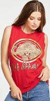 Def Leppard Leopard Cat Logo Women's Red Vintage Sleeveless Tank Top Muscle T-shirt by Chaser - side