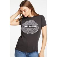 Vinyl Forever Women's Black Vintage Fashion T-shirt by Chaser - side