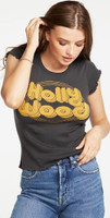 Hollywood Retro Logo Women's Ruffled Sleeve Vintage Fashion Black T-shirt by Chaser - side