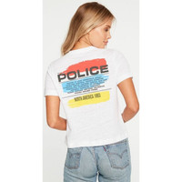 The Police North America Tour 1983 Women's White Cropped Vintage Fashion Concert T-shirt by Chaser - back