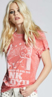 Pink Floyd In the Flesh Animals Tour Women's Red Distressed Vintage Fashion Concert T-shirt by Recycled Karma - left