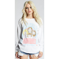 Creedence Clearwater Revival In Concert Women's White Vintage Fashion Long Sleeve T-shirt by Recycled Karma - front