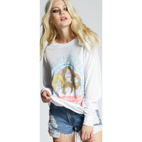 Creedence Clearwater Revival In Concert Women's White Vintage Fashion Long Sleeve T-shirt by Recycled Karma - left