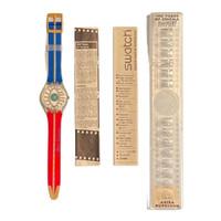 Swatch GZ14 Akira Kurosawa Eiga-Shi 100 Years of Cinema 1995 Vintage Unisex Fashion Watch - instruction manual and Akira Kurosawa pamphlet