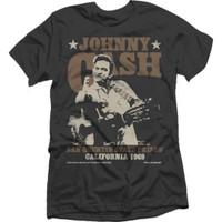 Johnny Cash San Quentin State Prison California 1969 Men's Unisex Black Fashion Concert T-shirt