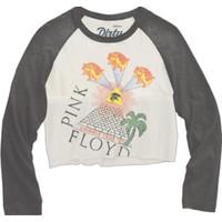 Pink Floyd Animals Tour 1977 Women's White Black Vintage Fashion Raglan Baseball Jersey Crop Top Concert T-shirt by Dirty Cotton Scoundrels