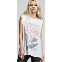 Pink Floyd Atom Heart Mother On the Road Women's Vintage Fashion White Sleeveless Muscle Tank Top Concert T-shirt by Recycled Karma - right
