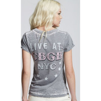CBGB & OMFUG Home of Underground Rock Logo Live at CBGB NYC Women's Vintage Distressed Fashion T-shirt by Recycled Karma - back