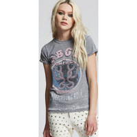 CBGB & OMFUG Home of Underground Rock Logo Live at CBGB NYC Women's Vintage Distressed Fashion T-shirt by Recycled Karma - front