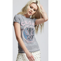 CBGB & OMFUG Home of Underground Rock Logo Live at CBGB NYC Women's Vintage Distressed Fashion T-shirt by Recycled Karma - side
