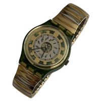 Swatch GG131 GG132S Green Shine Vintage Unisex Fashion Watch - front