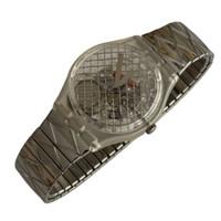 Swatch GK186 GK187 Silver Net Vintage Unisex Fashion Watch - front