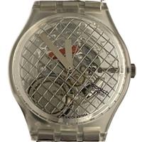 Swatch GK186 GK187 Silver Net Vintage Unisex Fashion Watch - face