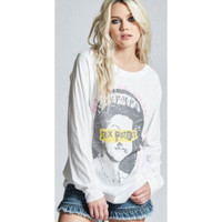 Sex Pistols God Save the Queen Song Title Never Mind the Bollocks Here's the Sex Pistols Album Cover Artwork Women's White Vintage Fashion Long Sleeve T-shirt by Recycled Karma - front