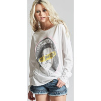 Sex Pistols God Save the Queen Song Title Never Mind the Bollocks Here's the Sex Pistols Album Cover Artwork Women's White Vintage Fashion Long Sleeve T-shirt by Recycled Karma - left